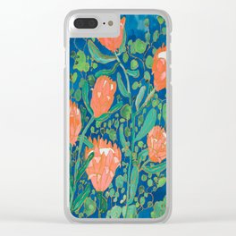 Proteas on Blue (Painting) Clear iPhone Case
