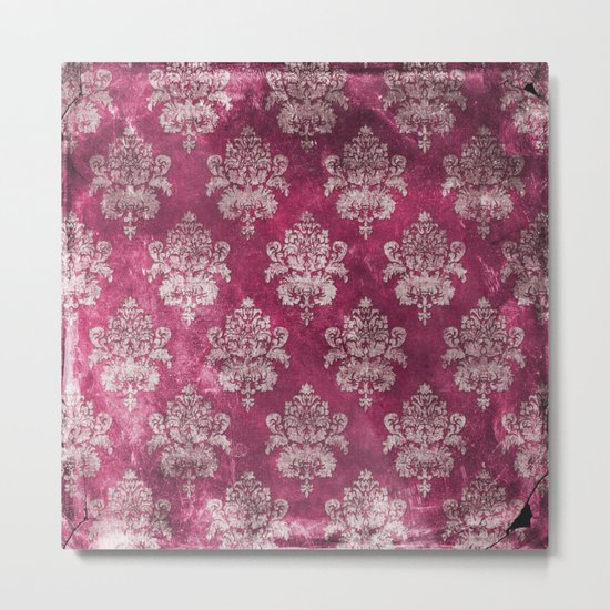 Old shabby vintage damask pink purple pattern Metal Print