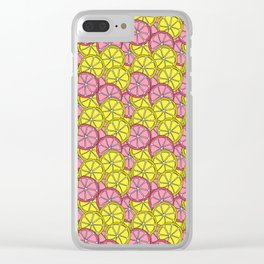 Summer Doodle - Pink and Yellow Lemons Pattern Clear iPhone Case