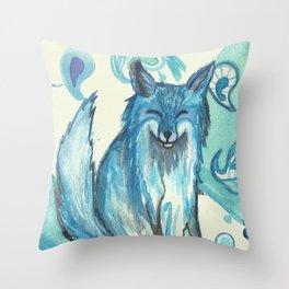 Fox in blue Throw Pillow