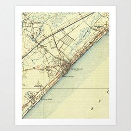 Vintage Map of Myrtle Beach South Carolina (1940) Art Print