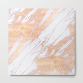 Marble - Rose Gold with Yellow Gold Glitter Shimmery Marble Metal Print