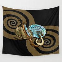 maori Wall Tapestries featuring Abalone with Historic Maori Fishing Hooks by Patricia Howitt
