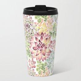 Bright Watercolor Succulents Travel Mug