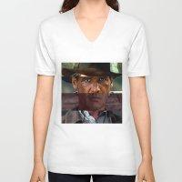saga V-neck T-shirts featuring Indiana Jones Saga by Chris Watts Art