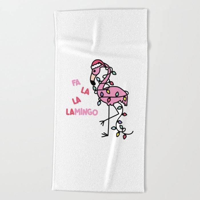 Christmas Flamingo Beach Towel