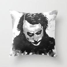 The joker in B&W Throw Pillow