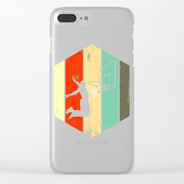 A Basketball Tee For Players With A Vintage Retro Silhouette Of A Man Showing His Skills T-shirt Clear iPhone Case