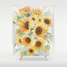 Loose Watercolor Sunflowers Shower Curtain