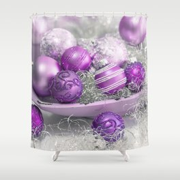 Fancy pink christmas Shower Curtain