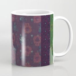 Lotus flower patchwork with green border, woodblock print style pattern Coffee Mug