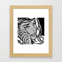 Crying-Girl02 B&W Framed Art Print