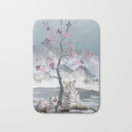 White Tiger And Plum Tree Bath Mat