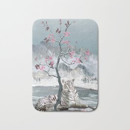 White Tiger And Plum Tree Bath Mat