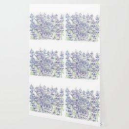 purple blue mealycup sage flowers watercolor   Wallpaper