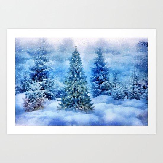 Christmas tree scene Art Print