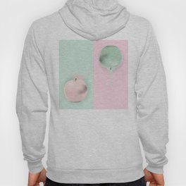 Pink green striped background with apple Hoody