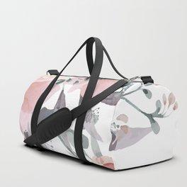 Peach Blush Watercolor Flowers Duffle Bag