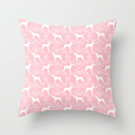 German Shorthair Pointer dog breed floral silhouette pink and white dogs pattern gifts Throw Pillow