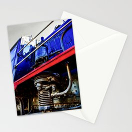 Engineer Cabin, Black Boiler And An Air Pump Of A Vintage Steam Engine Locomotive Stationery Cards