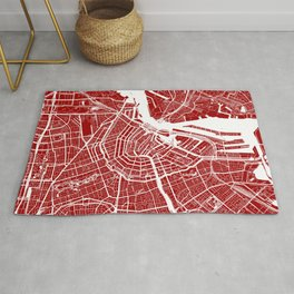 Red City Map of Amsterdam, Netherlands Rug