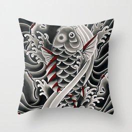 Japanese tattoo style Koi Throw Pillow