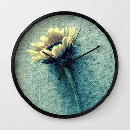 Sunflower on Denim Blue Wall Clock