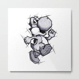 Yoshi Handmade Drawing, Games Art, Super Mario, Nintendo Art Metal Print