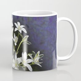 White 6 Petal Star Wildflowers Coffee Mug