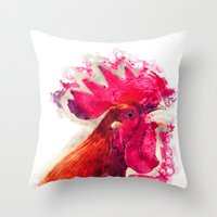 rooster Throw Pillows featuring Rooster by jbjart