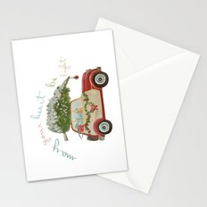 Vintage Christmas car with tree red Stationery Cards