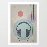 headphones Art Prints featuring headphones by avoid peril