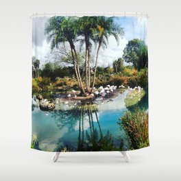 Flamingo Lagoon Shower Curtain