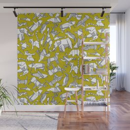 origami animal ditsy chartreuse Wall Mural