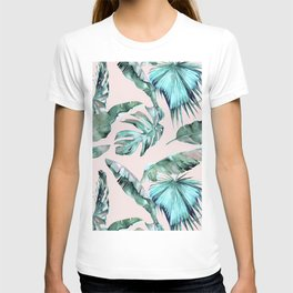 Tropical Palm Leaves Turquoise Green Coral Pink T-shirt