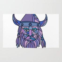 Viking Head Mascot Mosaic Rug