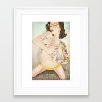 lady gaga Framed Art Prints featuring Self Portrait as a Lady, Revisited by keith p. rein