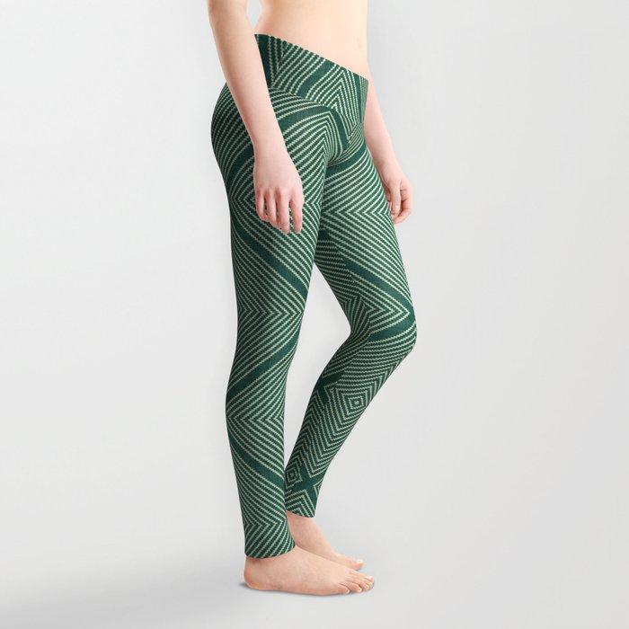 Stitched Diamond Geo Grid in Green Leggings