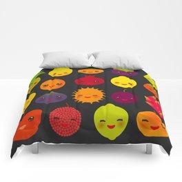 kawaii fruit Pear Mangosteen tangerine pineapple papaya persimmon pomegranate lime Comforters