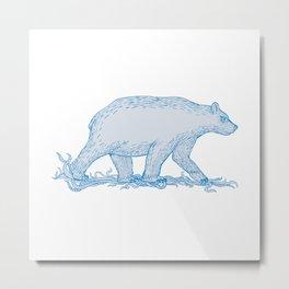 Polar Bear Walking Side Drawing Metal Print