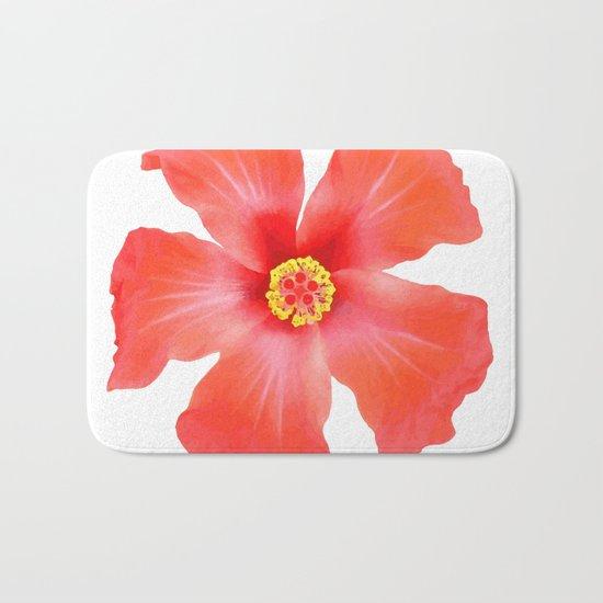 Tropical Hibiscus Flower Vector Bath Mat