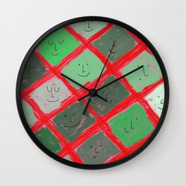 Cute pattern with smiling faces Wall Clock