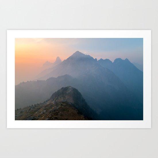 Pastel sunset peak Art Print