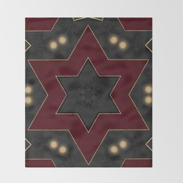 Deep Red Black and Gold Star Pattern Throw Blanket