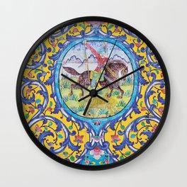 Iranian tiles Wall Clock