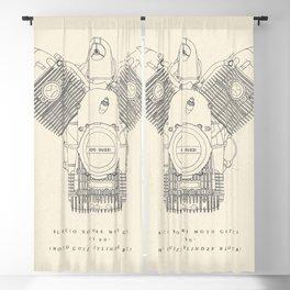 Original technical drawing, Moto Guzzi poster, engine block, classic motorbike cylinder block, garage decoration, cafe racer, scrambler,  Blackout Curtain