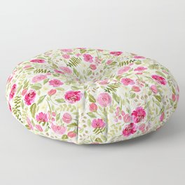 Rose Pink Watercolor Florals Floor Pillow