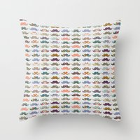 bianca Throw Pillows featuring Mustache Mania by Bianca Green