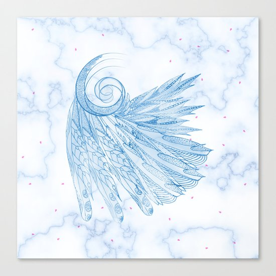 Beautiful Feathers on Blue Marble Design Canvas Print