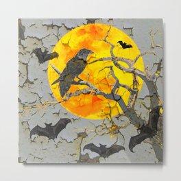HALLOWEEN NIGHT BATS & RAVEN GOLDEN  MOON Metal Print
